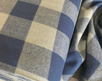 Buffalo Plaid fabric, Brushed Flannel, Flannel Shirting fabric, Lumberjack Chic, Tahoe Flannel, Large Plaid in Blue 114 , Choose the cut