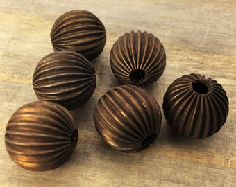 14mm Round Corrugated Brass Beads - 6 pcs - Hand Antiqued Brass - Patina Queen