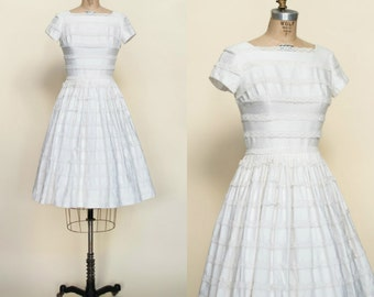 1950s White Cotton Dress --- Vintage Full Skirt Dress