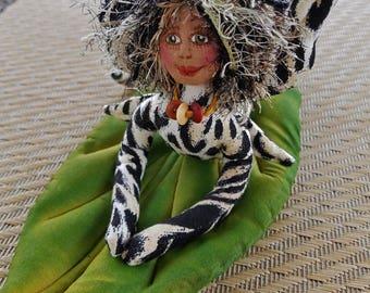 OOAK, Whimsical fiber sculpted jungle cat fairy on handpainted silk leaf