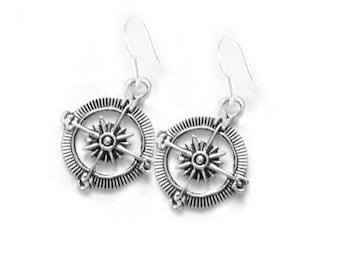 Compass Earrings, Dangle Silver Earrings, Compass Jewellery, Traveler gift