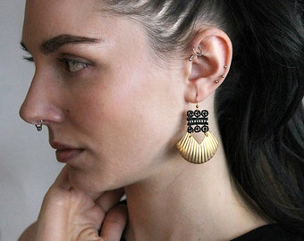 black lace and brass earrings | KARINYA | modern statement earrings, boho chic, unique jewelry, gift under 35, geometric,  large earrings