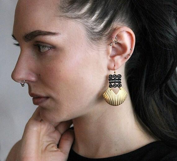 black lace and brass earrings | KARINYA | modern statement earrings, boho chic, unique jewelry, gift under 35, geometric,  large earrings