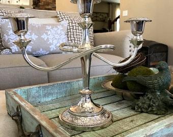 3 Arm Silverplated Candelabra 3 Light Candle Holder Silver Plate Floral Design Swirl Design Farmhouse Chic Wedding TYCAALAK