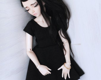 MSD Doll Minifee BJD clothes Black short sleeve skater dress MonstroDesigns Ready to Ship