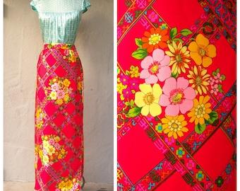 60s 70s maxi skirt / Alex Colman designer skirt / red floral holiday skirt / hippie boho mod Neon Asian Kawaii long  skirt / 29 waist small
