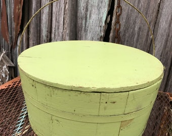 Vintage Apple Green Painted Wooden Bucket with Lid and Bale Handle