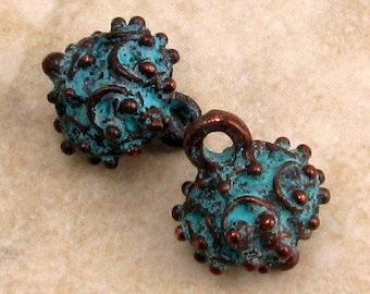 Bali Drop, Pendant, Boho Charm, Green Patina, 15 MM,  2-Pc. M286