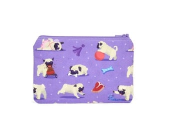 CHOOSE SIZE Pug Party Zipper Pouch / Pug Dogs Camera Bag on Purple / Make Up or Coin Pouch