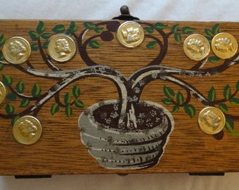 1960's Enid Collins Style wooden Box Purse Coin Money Tree, Wood Box Purse, Collectors Item, Made in Hong Kong