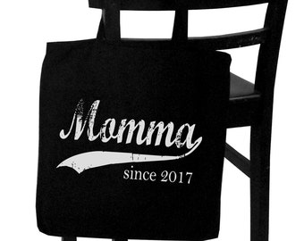 Momma since ANY year, screen print canvas tote, personalized tote bag, gift for new mom, Christmas gift for her, mom-to-be gift
