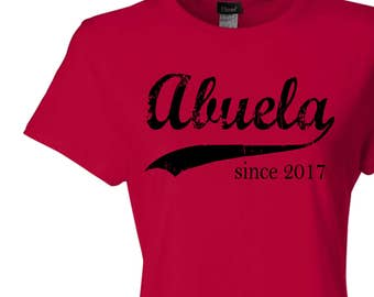 Abuela since ANY year, screen print tshirt, grandmother gift, personalized gift for her, custom womens fitted tee, Christmas gift