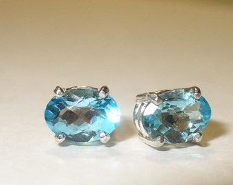 Blue Topaz Stud Earrings -  Beautiful Genuine Mined from Earth Natural  Gemstones in Solid Sterling Silver