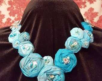 Necklace Flower Bib Turquoise Cabochon Rose MADE TO ORDER
