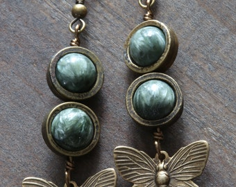 Steampunk Earrings - Green Seraphinite and Brass Butterflies Charms