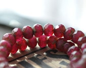 NEW! Cranberry Cocktail - Czech Glass Beads, Deep Fuchsia Opaline, Picasso Finish, Rondelles 9x6mm - Pc 10