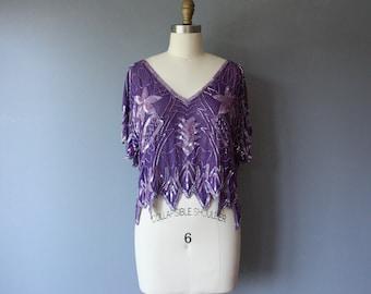 vintage 80s indian silk beaded blouse / purple v neck disco sequin beaded top / medium