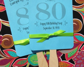 Adult Birthday Favor - 80th Birthday - Personalized Fans - Birthday Fans - 80th Favors - Adult Favors - Birthday Fans - Birthday Hand Fans