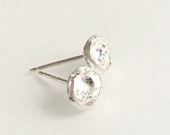 Simple Silver Stud Earrings, Organic Stud Earrings, Silver Asymmetric Organic Post Earrings, Small Unique Stud Earrings OOAK, Cyber Monday