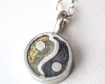Yin Yang Necklace Sterling Silver Concrete Jewelry Ying Yang Custom 24kt Gold
