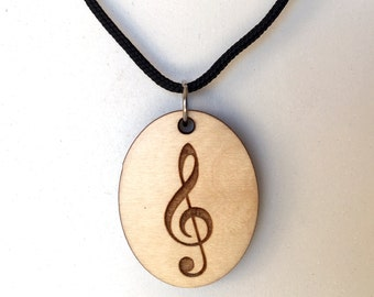 Treble Clef, Essential Oil Necklace, Wood Music Necklace, Music Note, Wood Aromatherapy Jewelry, Diffuser Necklace, Music Jewelry, Laser Cut