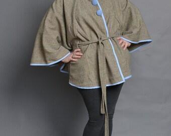 Grey Herringbone Wool Poncho Coat