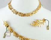 Reserved -Vintage Golden Trifari - Sherwood Set of 3 - Necklace - Bracelet - Brooch - Old New Stock - Tagged and Flawless - 60's/70's