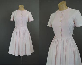 Vintage Pink Dress, Full Skirt 35 bust, 1960s Cotton Day Dress Shirtwaist