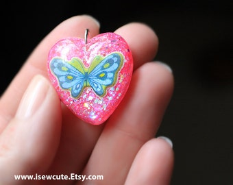 Pink butterfly necklace, pink heart pendant, butterfly jewelry, blue butterfly, resin glitter heart, handmade resin jewelry by isewcute