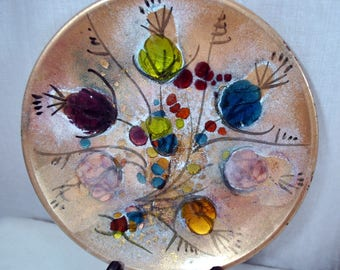 """Vintage Mid Century Enamel on Copper  Cloisonne Abstract Design Round Plate 8-1/2"""" - Flowers"""
