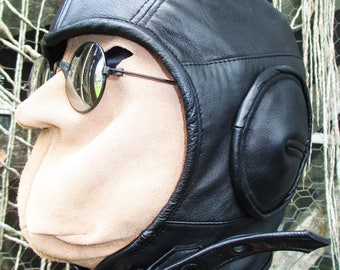 Retro Aviator Hat in Soft Black Leather/ Large Size Cotton Lined