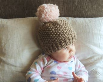 Knit Baby Pom Pom Hat | Pale Pink and Brown Knit Hat | Baby Girl