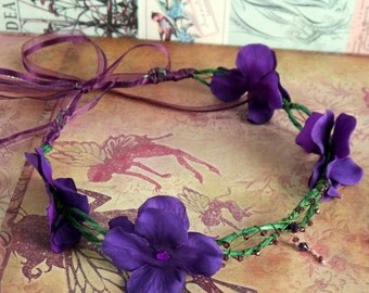 purple faerie flower crown - flower circlet, elven headpiece, floral halo, festival flower wreath, hydrangea flower crown, bohemian bride