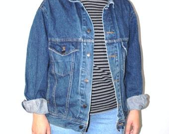 oversized denim jacket 90s grunge vintage unisex jean jacket large