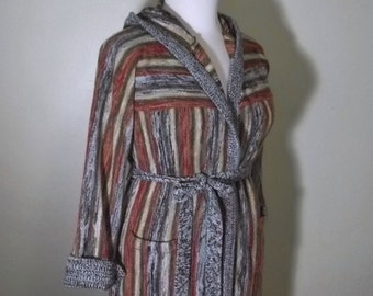 Vintage 70s Bohemian Hooded Wrap Cardigan Sweater