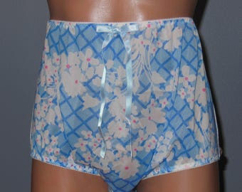 Handmade Custom Nylon Tricot Granny Brief Summer Panties Sz-34/36