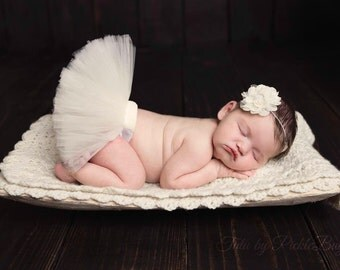 Baby Tutu, Newborn Girl Coming Home Outfit, Baby Girl Coming Home Outfit, Newborn Photo Prop, Tulle Skirt, Baby Shower Gift, Tutu Dress SEWN