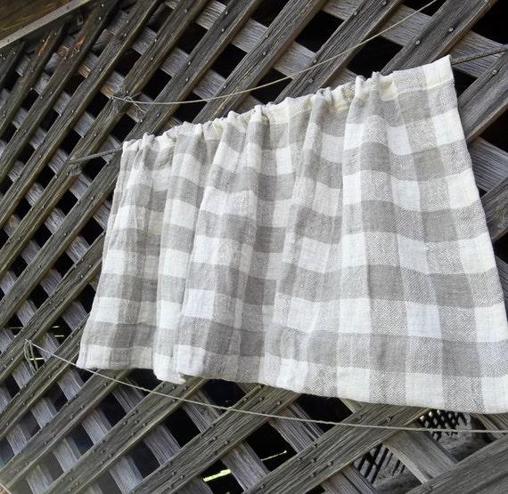 Natural Linen Curtain Farmhouse Kitchen Window Treatment