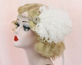 Great Gatsby Headband, 1920s Flapper, Bridal Hair Accessory, Wedding Headpiece, Choose Your Own Colors