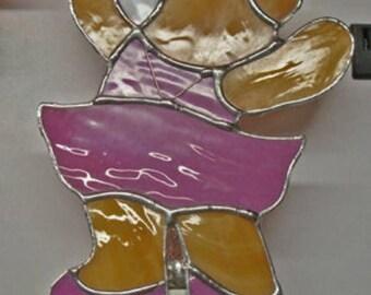 Bear Night Lights - Choices: Teddy Bear - Ballerina Bear - Pooh Bear - Black Bear -- Stained Glass & Fused  Glass Nightlights