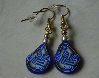 Royal and Sea Blue Geometric Swirl - Polymer clay earrings