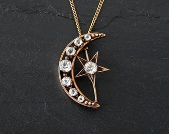 Victorian Crescent Moon Pin or Pendant: 10k rose gold, 14k yellow gold, Old Mine Cut Glass Paste stones, 18 inch long curb chain, 1890s star