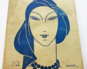 1920's Vintage French Magazine La Femme de France November, 1929 Deco Fashion and Sewing