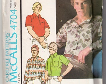 Menswear Vintage Sewing Pattern McCall's 4704 Men's Knit Sport Shirt in 4 Versions 1970s Size Medium 38-40