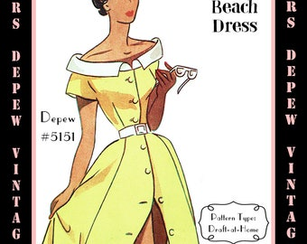 Vintage Sewing Pattern 1950's Beach Dress Depew 5151 in Any Size - PLUS Size Included  -INSTANT DOWNLOAD-
