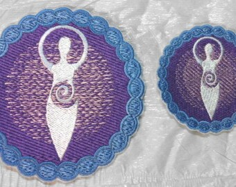 DIVINE MOTHER embroidered Iron on Applique - 2 Sizes Available - Made in U.S.A. - FREE U.S. Shipping