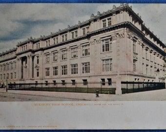 Postcard McKinley High School Chicago Illinois Unused Antique Undivided Back UDB