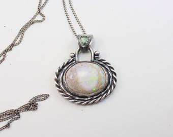 Sterling Silver and Mexican Fire Opal Pendant ||| Royston Turquoise and Opal Pendant |  twisted .925