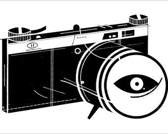"Surveillance Spy Camera CCTV 22x15"" Art Print by Raymond Biesinger"