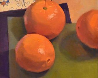 "Art painting still life by Sarah Sedwick ""Three Oranges no. 3 (Pattern)"" 8x8"""
